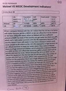 """Learning from Malawi - Outcomes: Student Work 3 """"Using development indicators to compare Malawi and the UK"""""""