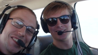 Me and pilot Bear, snapping a quick selfie in the air!