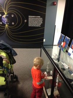 The family got a private 10 minute viewing of the Science On A Sphere (Theo's favourite), and also a quick look at the Space Weather Prediction Centre's displays.
