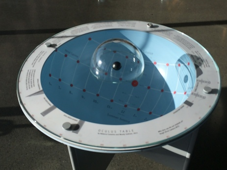 The occulus table, pivoted correctly to face north gives you a very informative 'sun dial'